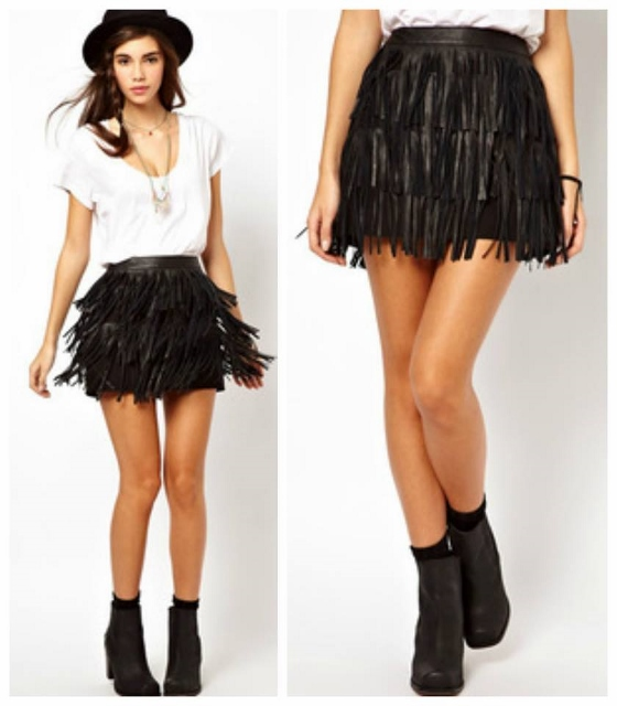 COWGIRL GYPSY SKIRT Black Leather Fringe Western Mini Skirt
