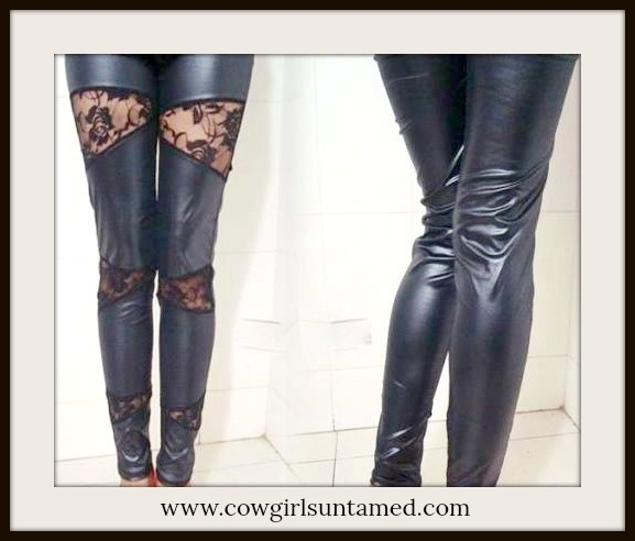 COWGIRLS ROCK LEGGINGS Black Leather N Lace Western Leggings