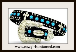 SPIRITUAL COWGIRL BELT Black GENUINE HIDE Silver Cross and Turquoise Studded Belt