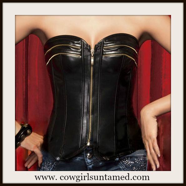 CORSET - Black Leather Zipper Detail Lace Up Back N Accent Western Corset Top