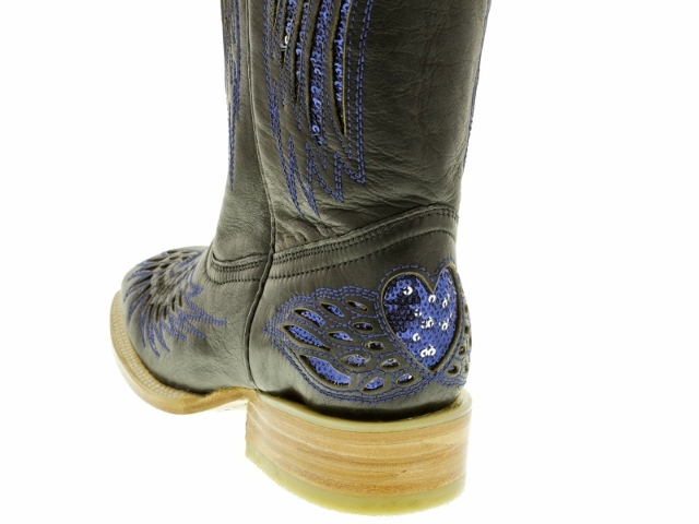 COWGIRL STYLE BOOTS Blue Sequin Underlay of Angel Wing and Heart ...