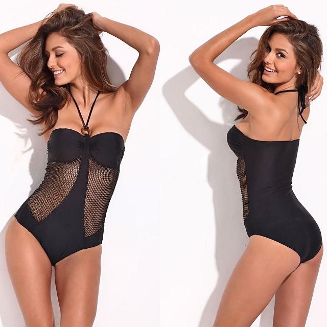 COWGIRL GLAM Black Mesh N O-ring Halter Strap DESIGNER Western One-Piece Bathing Suit Swimsuit