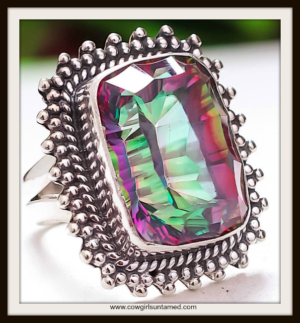 COWGIRL GYPSY RING  Black Mystic Topaz 925 Sterling Silver