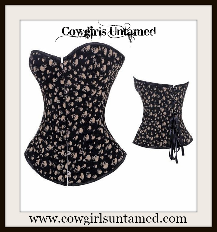 CORSET - Black N Beige Skull Lace Up Western Corset Top