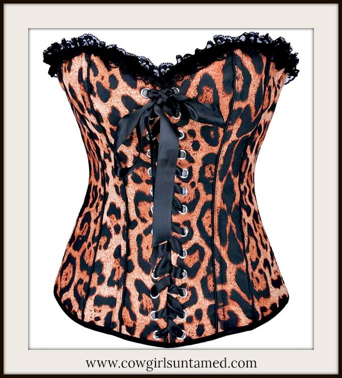 CORSET - Black N Brown Leopard Lace Trim Hook N Eye Closure Back Western Corset Top