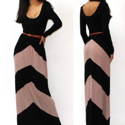 COWGIRL STYLE DRESS Black and Beige Long Sleeve Long Western Maxi Dress with FREE BELT