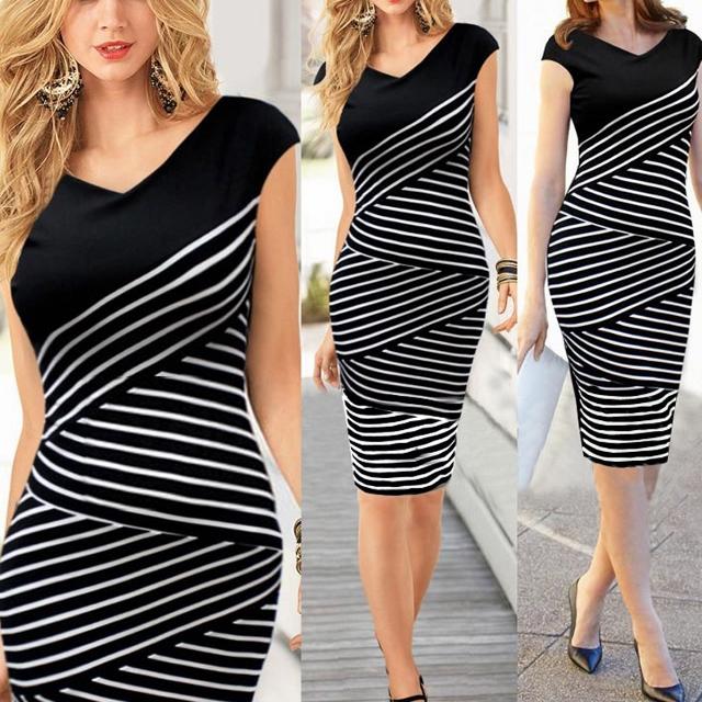 COWGIRLS ROCK Black and White Asymmetrical Stripes V-Neck Cap Sleeve Dress