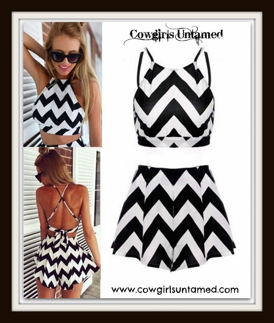COWGIRL STYLE ROMPER Black and White Chevron Stripe Backless Crop Top and Shorts Culotte 2 pc. Set