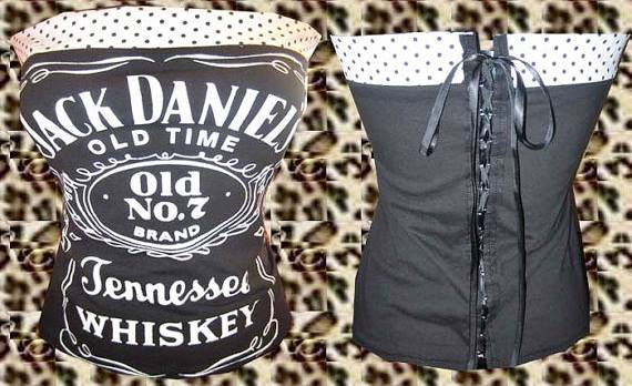 CORSET - Black N White Jack Daniels Whiskey Polka Dot Trim Lace Up Back Western Corset