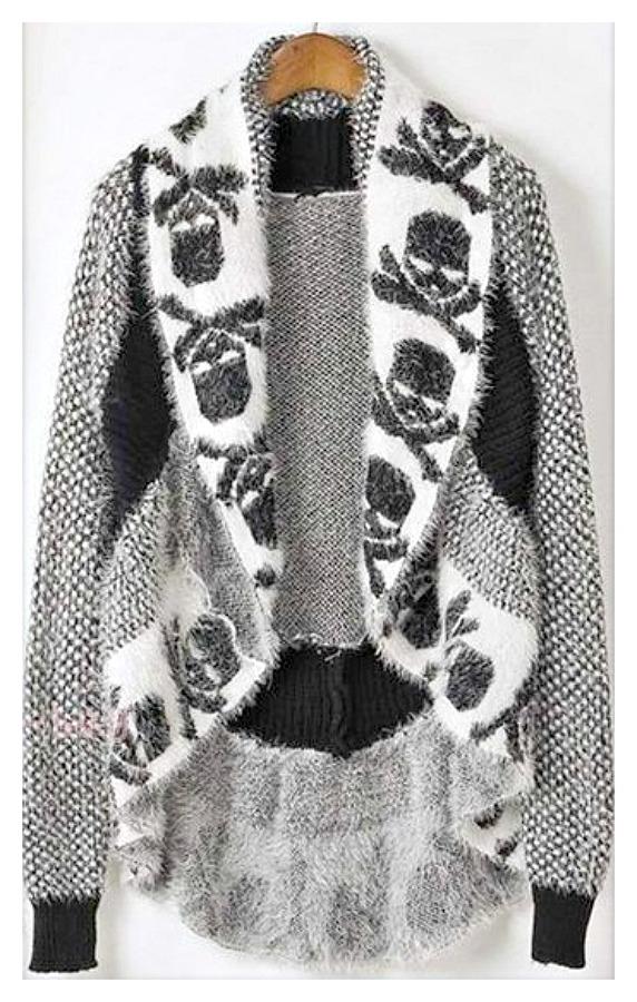 COWGIRL GYPSY SWEATER Black N White Skull Soft Cardigan Sweater