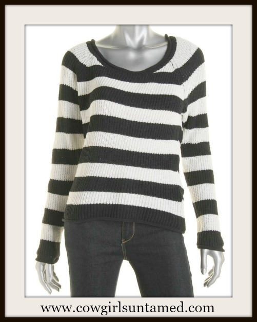 HEART N CRUSH SWEATER Black & Off White Striped Designer Sweater