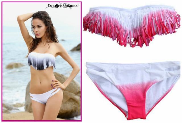 COWGIRL GYPSY BIKINI Ombre Strapless Top with Lined Side Slit WHITE Bikini Bottoms Western Bikini  2 PIECE