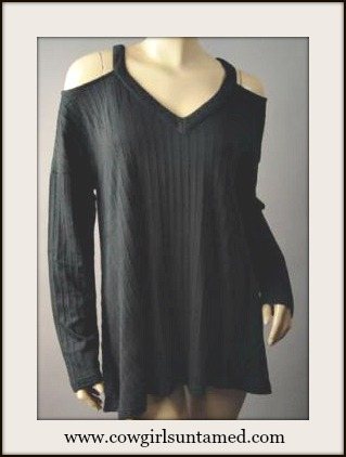 COWGIRL GLAM TOP Open Shoulder V Neck Over-sized Black Knit Top