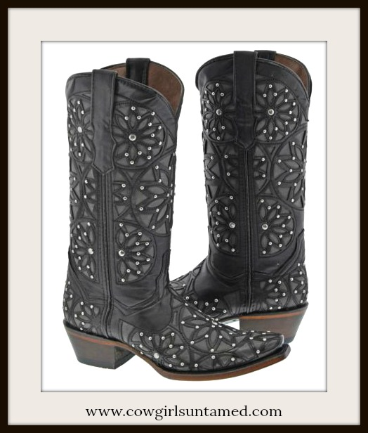 COWGIRL STYLE BOOTS Silver Studded Floral Overlay Black GENUINE LEATHER Boots