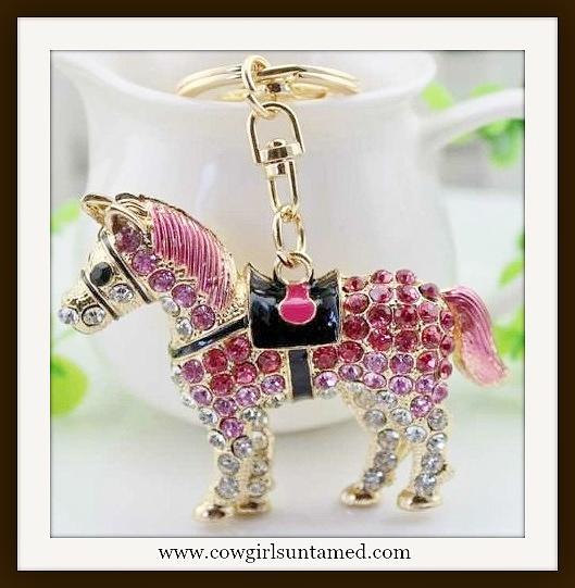 HORSE LOVIN' KEYCHAIN Pink Rhinestone Large Golden Horse Keychain / Handbag Charm