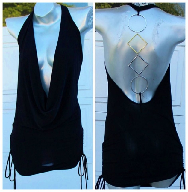 COWGIRL GYPSY TOP Sheer Deep V Neckline Ruched Side Ties and Scoop Back with Metal Rings BLACK Mini Dress Tunic Top