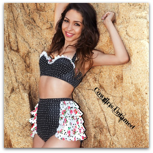 COWGIRL PINUP BIKINI Black & White Polka Dots with Floral Ruffle Bottom Retro Bikini