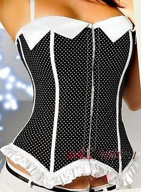 CORSET - Black N White Polka Dot White Ruffle N Collar Lace Up Back Sexy Strap Western Corset Top