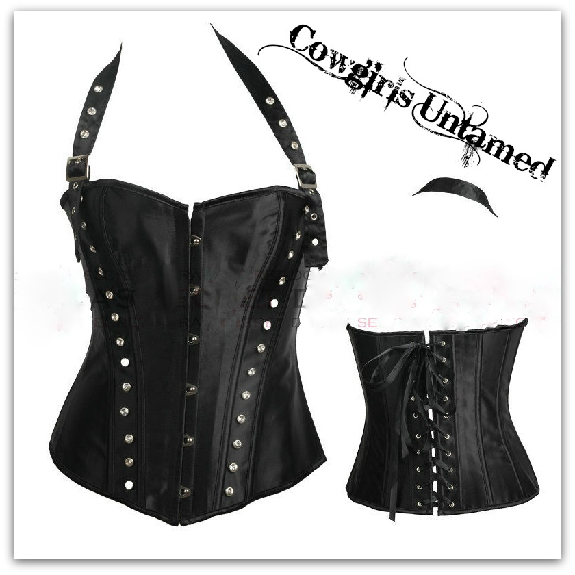 COWGIRLS ROCK CORSET - Riveted Halter Style Lace Up Back Black Satin Corset Top