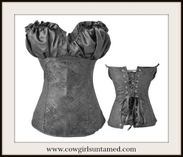 CORSET - Black Satin Sweetheart Neckline on Brocade Lace Up Back Western Corset Top