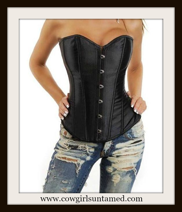 CORSET - Black Satin Lace Up Corset Top