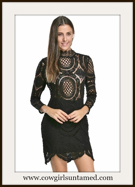 WILDFLOWER DRESS Black Crochet Lace High Neck 3/4 Sleeve Mini Dress