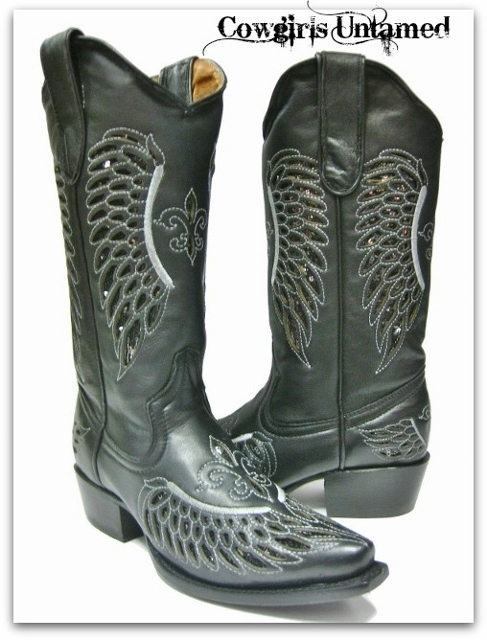 COWGIRL STYLE BOOTS Snip Toe Black Sequin Fleur De Lis & Angel Wing Inlay Black GENUINE Leather Western Boots