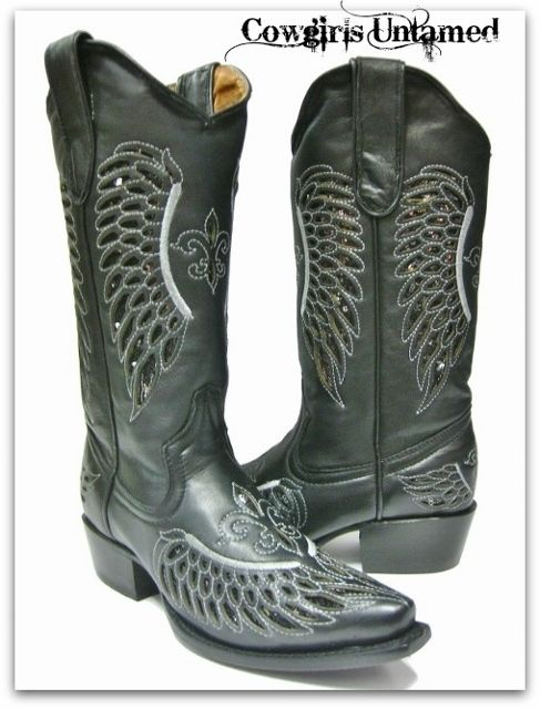 COWGIRL STYLE BOOTS Black Sequin Fleur de Lis & Angel Wings Silver Embroidery Cowgirl Boots