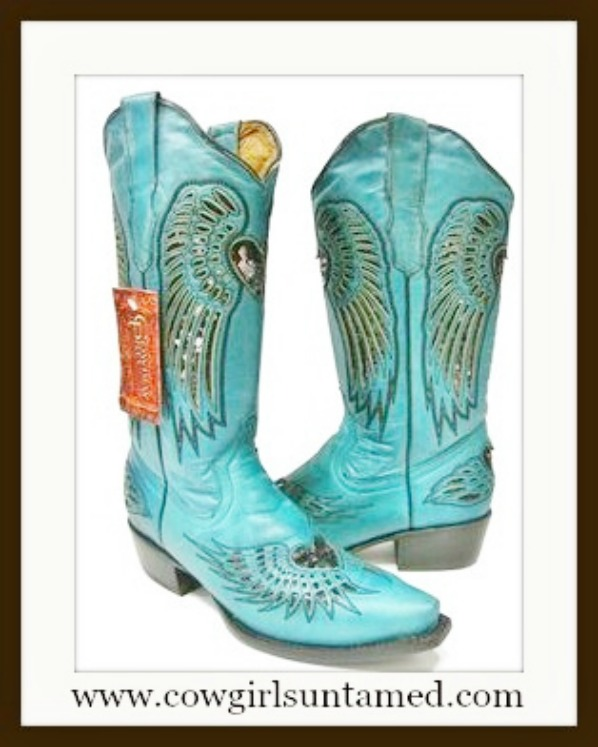 COWGIRL STYLE BOOTS Black Sequin Heart & Angel Wing Inlay Snip Toe Turquoise GENUINE Leather Cowgirl Boots