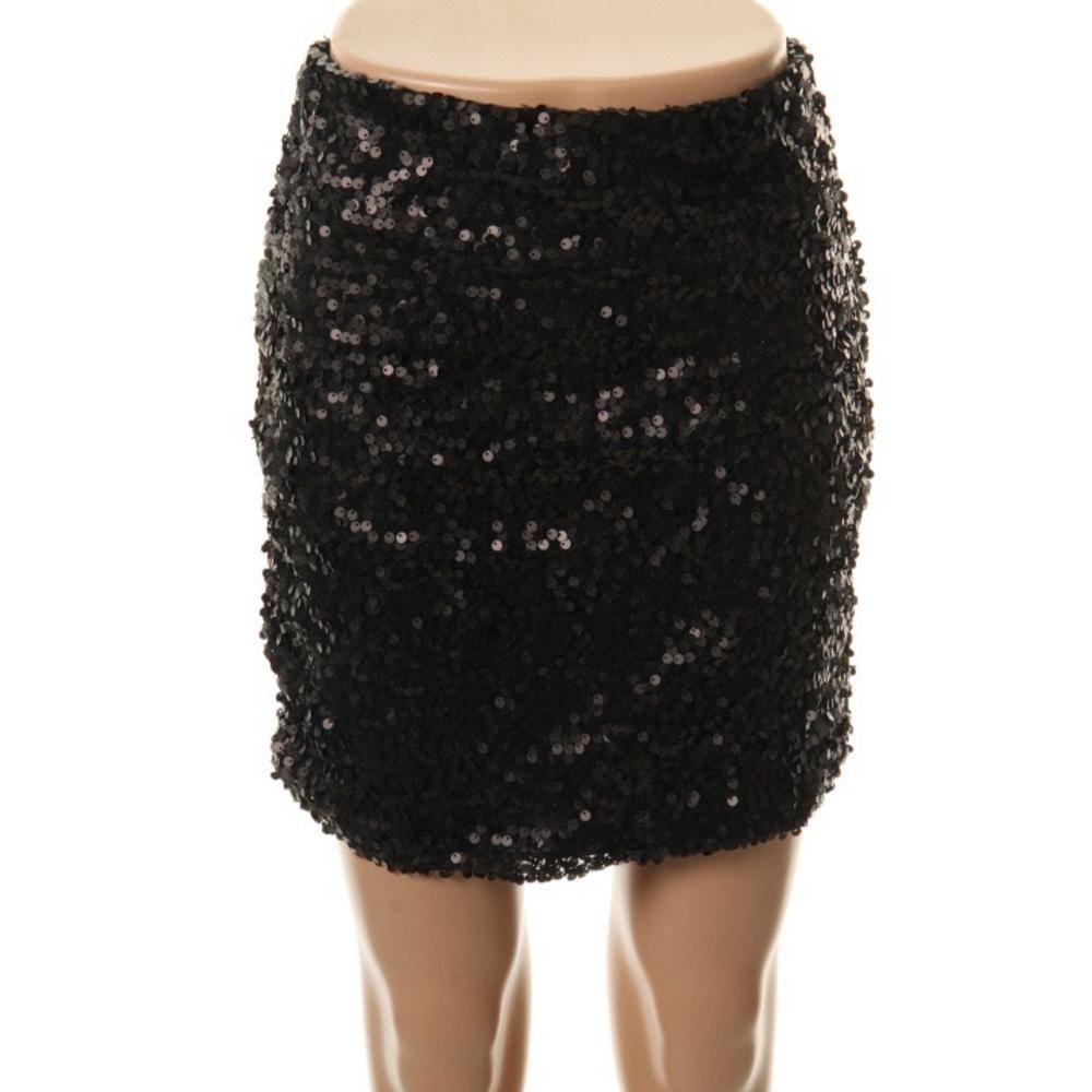 COWGIRL GLAM SKIRT Black Sequin Stretchy Lined Designer Mini Skirt