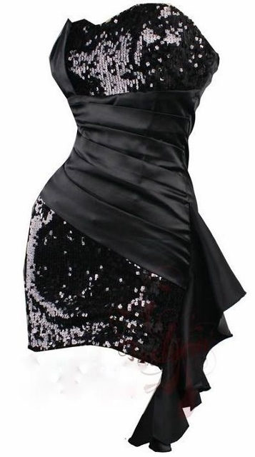 COWGIRL GLAM Black Sequin n Satin Ruffle Sweetheart Neckline Western Mini