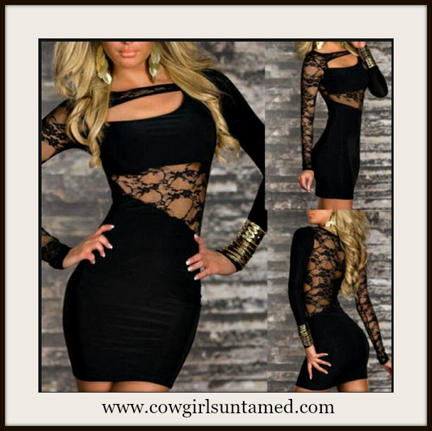 COWGIRL GLAM DRESS Black Sheer Lace  and Cutout Neckline Mini Dress/Tunic Top