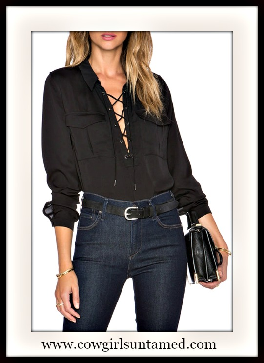 COWGIRL GLAM TOP Black Silky Long Sleeve Lace Up Neckline Blouse