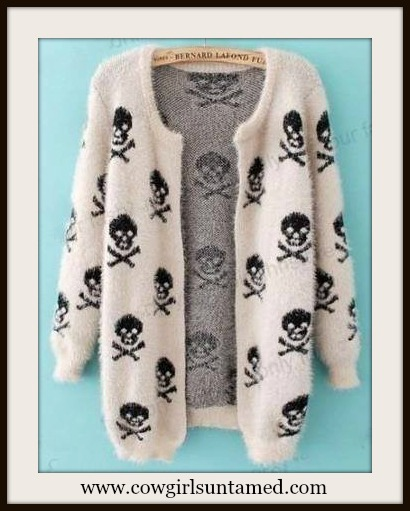 COWGIRL GYPSY SWEATER Black Skull N Crossbones on White Fluffy Open Cardigan