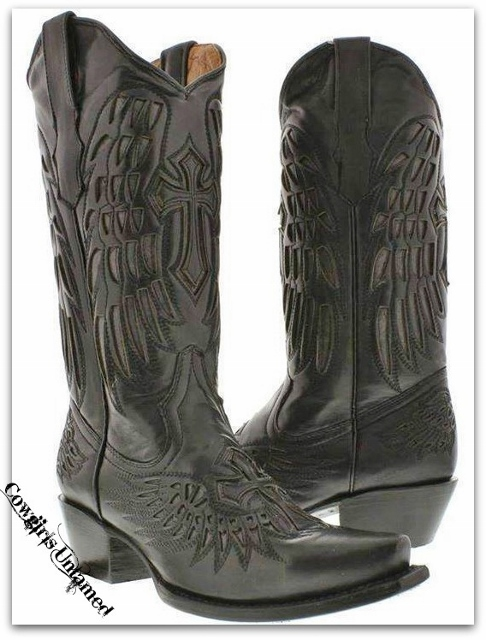 COWGIRL STYLE BOOTS Black GENUINE LEATHER Underlay of Angel Wing and Cross Snip Toe Western Boots