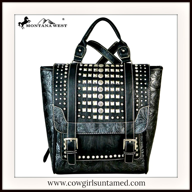 COWGIRLS ROCK BACKPACK Antique Silver Studded Black Leather Backpack