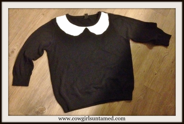 SOUTHERN BELLE SWEATER White Collar Black Knit Long Sleeve Sweater