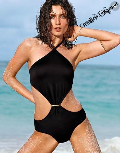 COWGIRLS ROCK SWIMSUIT Halter Style Padded Black Monokini