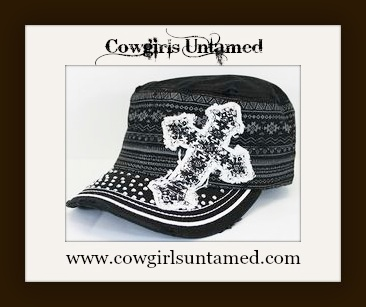 SPIRITUAL COWGIRL HAT Tribal Pattern and Sparkly Cross Black Cadet Style Western Hat