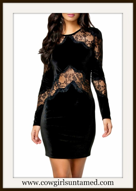 COWGIRL GLAM DRESS Black Velvet with Lace Insert Long Sleeve Mini Dress