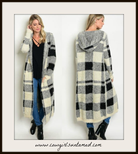 WILDFLOWER SWEATER Black and White Checked Soft Hooded Oversized Duster Sweater