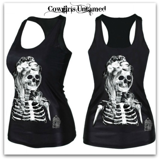 COWGIRLS ROCK TANK TOP Black & White Skeleton Bride and Bird Cage Tank Top