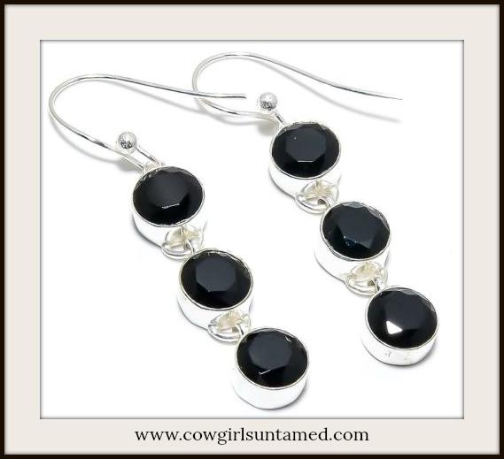 Black Brazilian Onyx 925 Ss Earrings Sterling Silver Gemstone Dangle Jewelry Beautiful Cow Gypsy Western Style