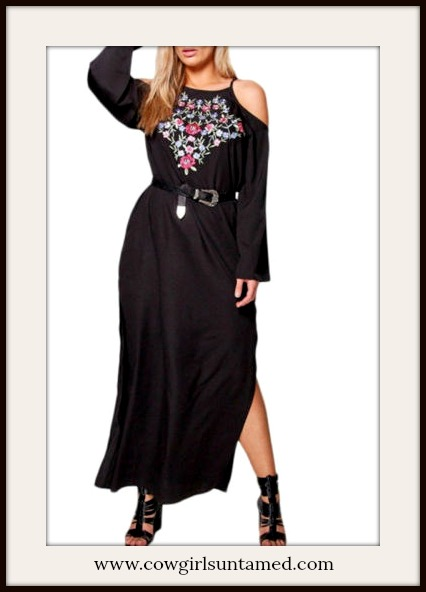 BOHO CHIC DRESS Floral Embroidery Cold Shoulder Long Sleeve Black Maxi Dress PLUS SIZE