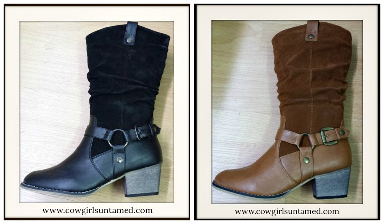 WILDFLOWER BOOTS Faux Suede & Leather  Harness Detail Midcalf Slouch  Boots