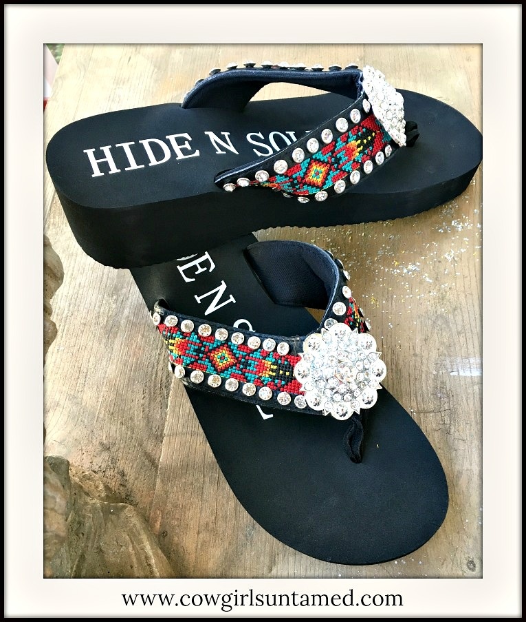 BOHO CHIC SANDALS Aztec Embroidery Rhinestone Silver Concho & Studded Heel Flip Flops