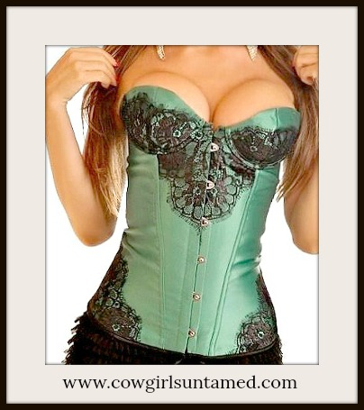 CORSET - Black Lace on GREEN Satin Lace Up Back Boned Corset Top