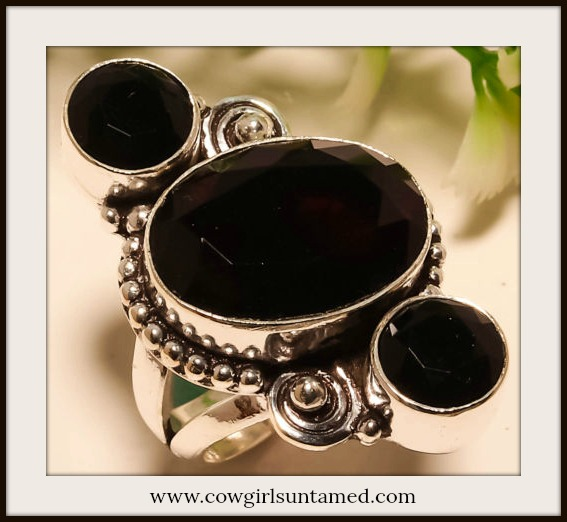 COWGIRL GYPSY RING Black Onyx 925 Sterling Silver Ring