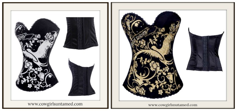 CORSET - Silver Dove Butterfly Floral Rhinestone Tattoo Boned Lace N Chain Western Corset Bustier Top