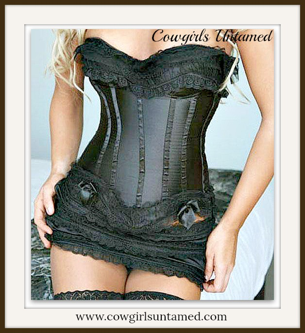 CORSET - Black Lace Trim and Bow Western PLUS SIZE Satin Lace Up Corset with Ruffle Bottom